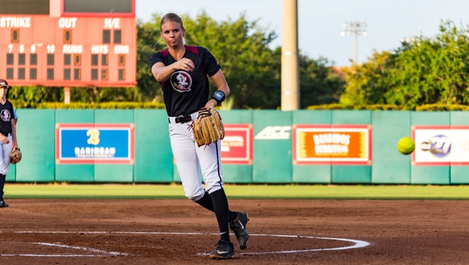 Florida State redshirt senior starter Jessica Burroughs delivers a strike during the Seminoles 3-0 victory over Princeton in the NCAA Tallahassee Regional on Friday night at JoAnne Graf Field.