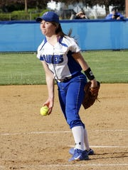 McKenna Mattison pitches for Horseheads in a 13-1 win over Ithaca on Tuesday in Horseheads.