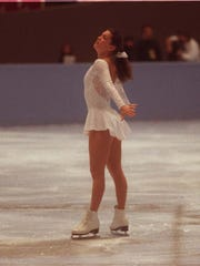 Nancy Kerrigan during her last practice session at COBO Arena just before she  was clubbed in the leg during the National Figure Skating Championships in 1994