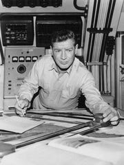 A photograph of Richard Basehart from 1964 during filming of the television series Voyage to the Bottom of the Sea, which ran from 1964 to 1968.