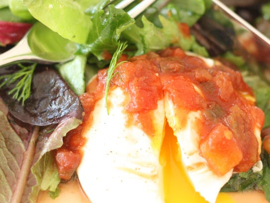 Salsa Eggs with Lightly-Dressed Herb Salad