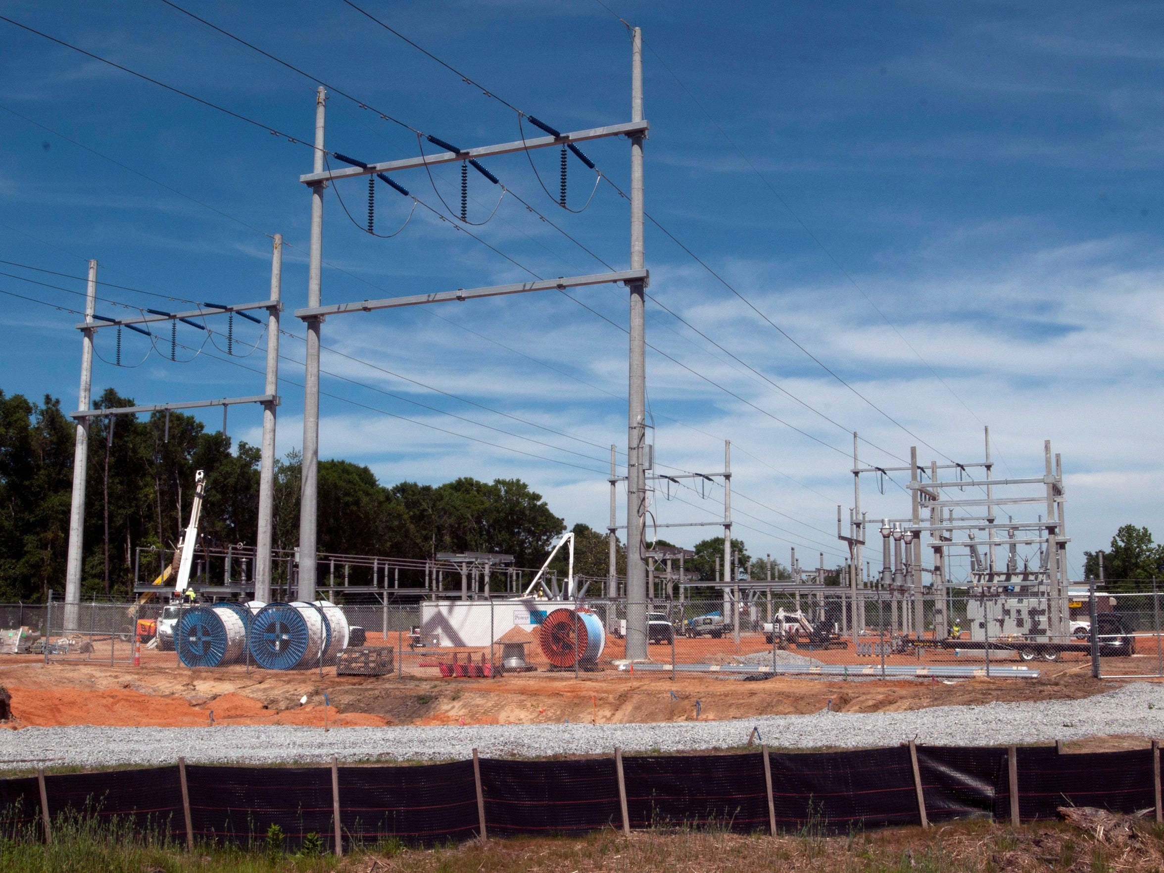 Contractors are building a new substation for Gulf Power in the Bellview area May 1, 2017.