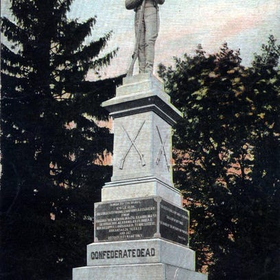 Circa 1900 postcard view of the Soldiers' Memorial in Thornrose Cemetery. The memorial is the focal point for a mass burial site for Confederate soldiers who fell to wounds or illness on the battlefields of Alleghany, McDowell, Cross Keys, Port Republic and Piedmont. It was on this site in 1866 that some 3,000 local residents gathered to pay homage.
