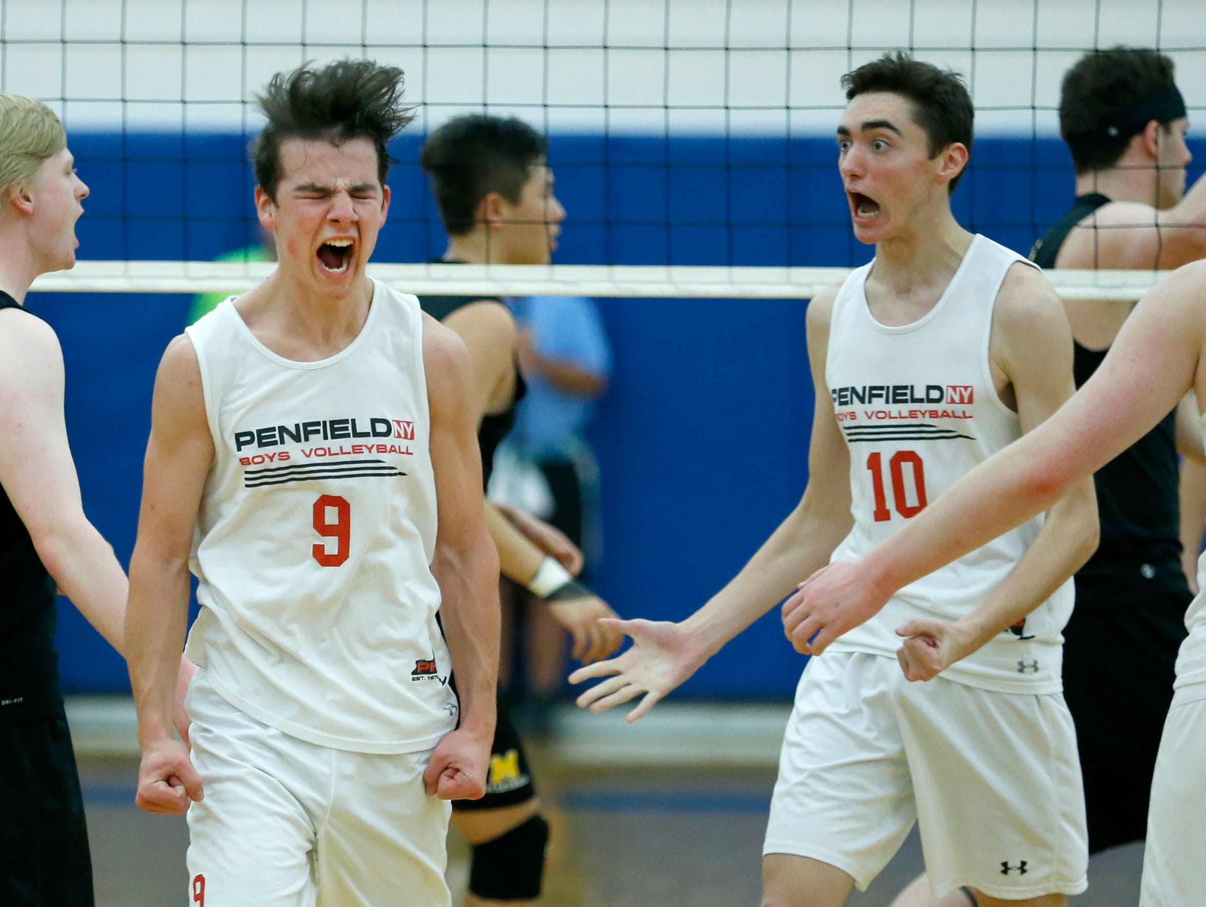 Penfield's Jett Klintworth reacts after a point against McQuaid in the second set at Webster Schroeder High School.