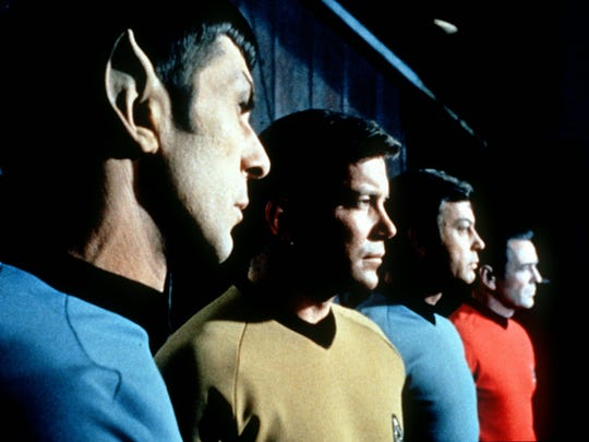 "Actors in the TV series ""Star Trek,"" from left, Leonard"