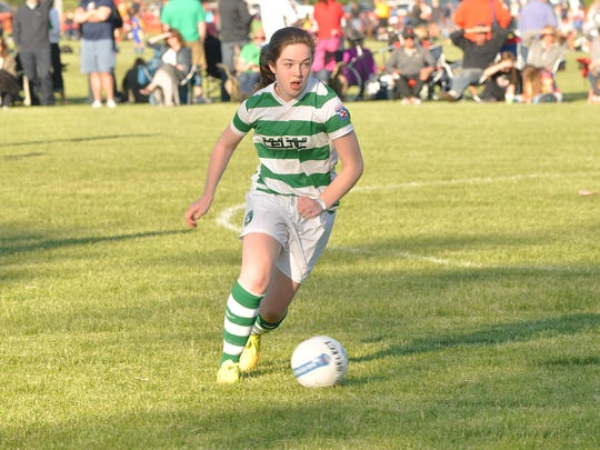 Getting set to boot the ball during a Friday Canton Cup contest is Chloe Laporte of the Celtic U14 team.