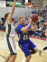 Mountain Home's Garrett Dietsche goes up for two on
