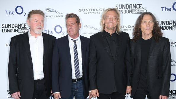 The Eagles, from left, Don Henley, Glenn Frey, Joe Walsh and Timothy Schmidt, at  a screening of 'History of The Eagles,' as part of the Sundance Film Festival in the UK in east London on April 25, 2013.