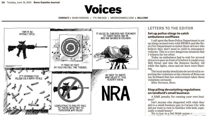 """A cartoon on the Reno Gazette-Journal's Voices page incorrectly used the phrase """"assault rifle."""""""