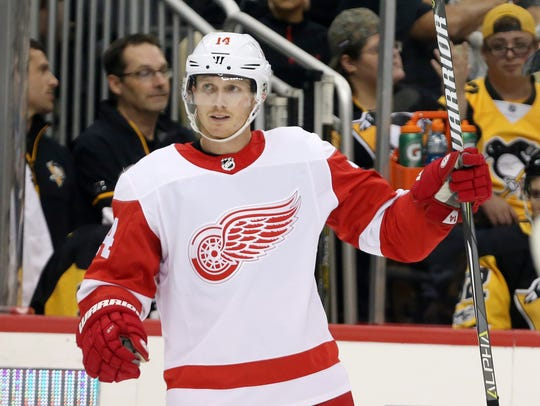 Detroit Red Wings center Gustav Nyquist (14) celebrates
