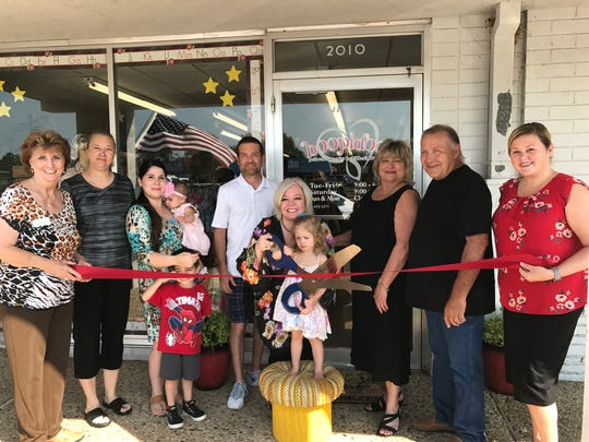 """Concho Cadre members joined Melissa Edmiaston-Martin and family for the grand opening of Boopidoo, a boutique focusing on """"preloved maternity and children's clothing"""" located at 2010 W. Beauregard Ave. in San Angelo on Aug. 10."""