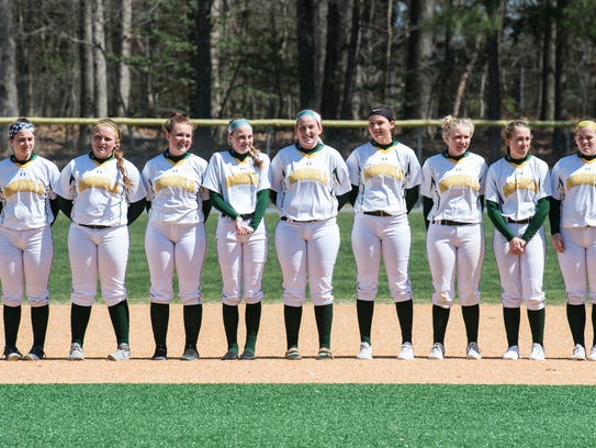 The Mardela softball team stands during the opening