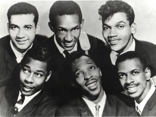 The Contours, (back row) Billy Hoggs, Huey Davis, Hubert Johnson, (front row) Sylvester Potts, Billy Gordon, Joe Billingslea