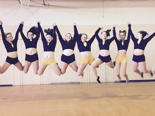 Members of the West Milford High School Dance Team (l to r) Alex Ayres, Ally D'Angelo, Madyson Healy, Kiera Grady, Meghan Kochan, Renee Burns, Taylor Roberto, Noelle Leyva, Brielle Pelissier, and Isabella Ringressey show off their new gear donated from Totowa-based Capezio. Not pictured in this Dec. 3 photo is the team's 11th member Josie Ugliano.