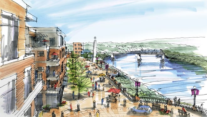 A vision for the now-vacant Magnet Mills site includes a riverfront esplanade.