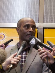 ASU Athletic Director Ray Anderson talks about the decision to fire former Men's Basketball Coach Herb Sendek, March 24th, 2015, in Tempe, Ariz.