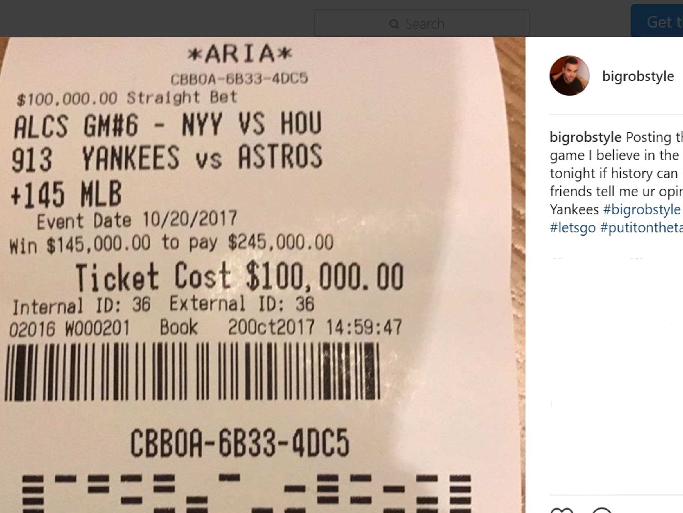 Rob Gorodetsky posts on Instagram a photo of his betting