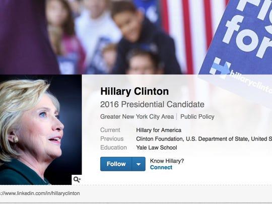 Hillary Clinton's LinkedIn page.