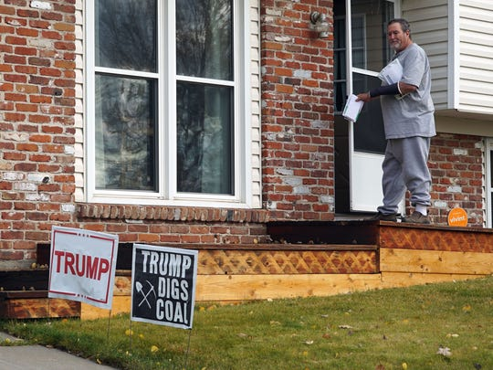 """Steve Smith walks back into his house in Craig, Colo. after collecting his mail. Smith, a retired coal miner, opposes Hillary Clinton on a variety of issues, including energy policy and Supreme Court nominations.  """"We put up with four years of Trump,"""" he said. """"But the Supreme Court is a lifetime."""""""