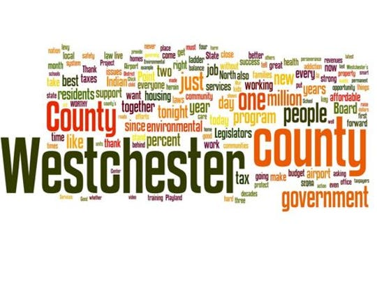 A word cloud of Westchester County Executive Rob Astorino's