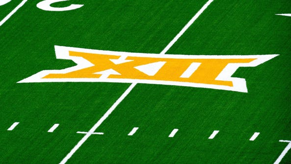 A view of the Big 12 logo before the game between the