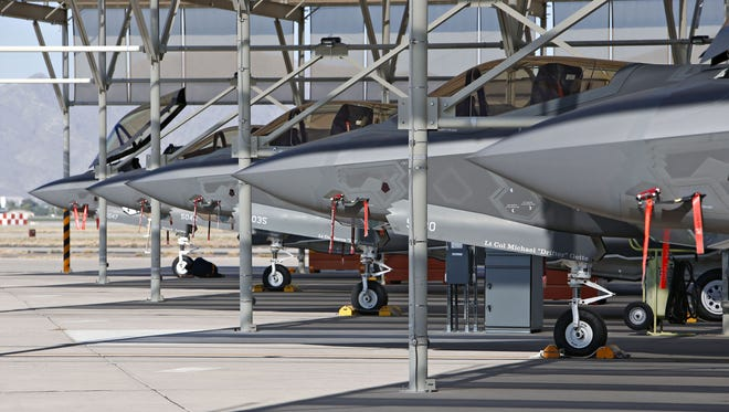 A line of the new F-35 fighters at Luke Air Force Base in Glendale on Sept. 11, 2015.