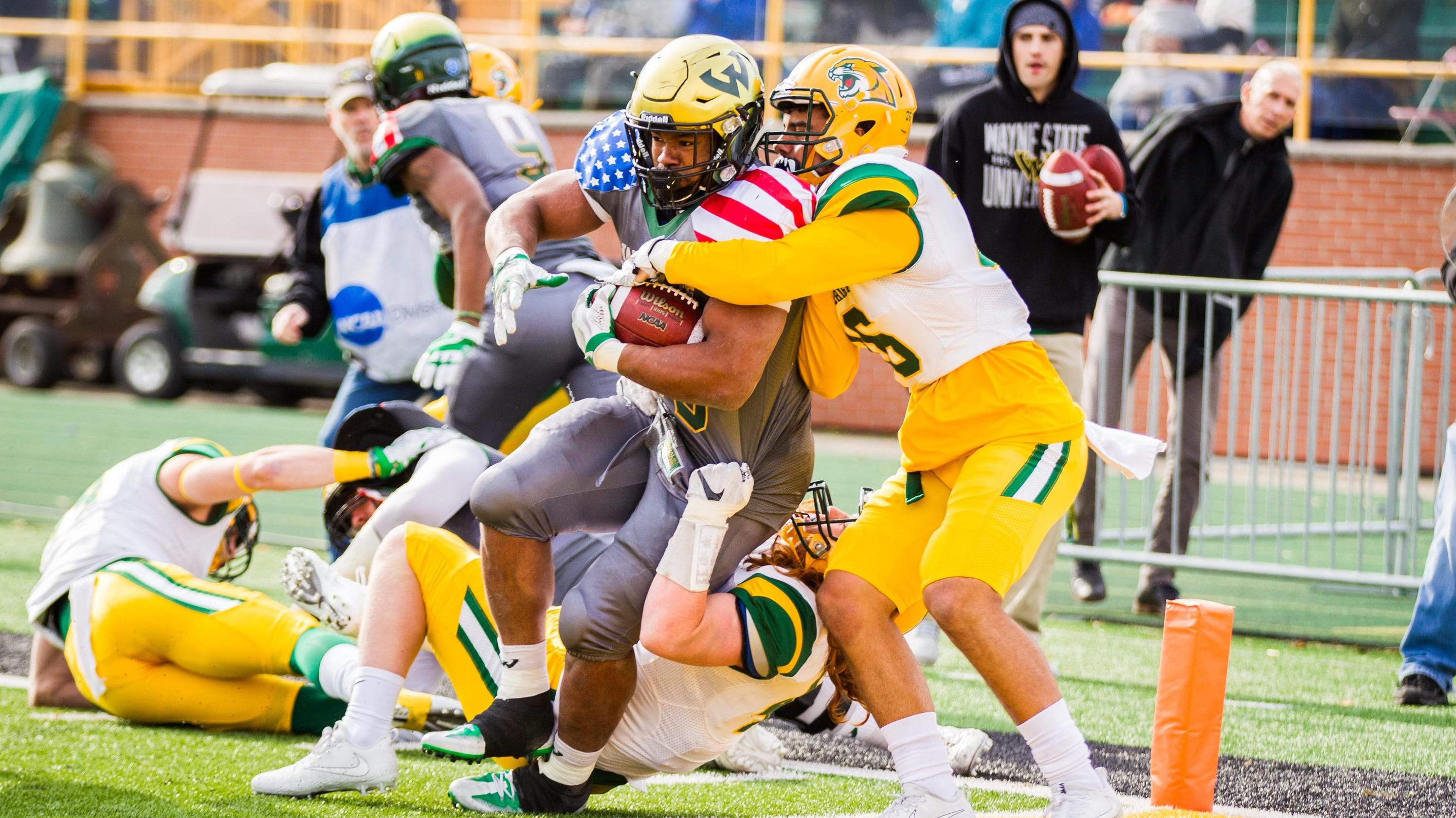 reputable site 0a0b4 e2f97 Myron Riley came up with an interception in the final seconds to secure  Wayne State s 26-24 win over visiting Northern Michigan in its home finale  at Tom ...
