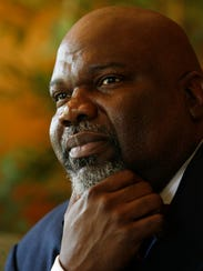 Bishop T.D. Jakes gives an interview in Washington