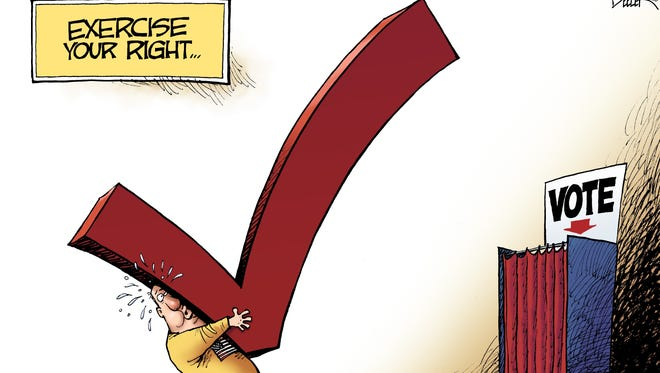 Nate Beeler, The Columbus Dispatch, drew this editorial cartoon.