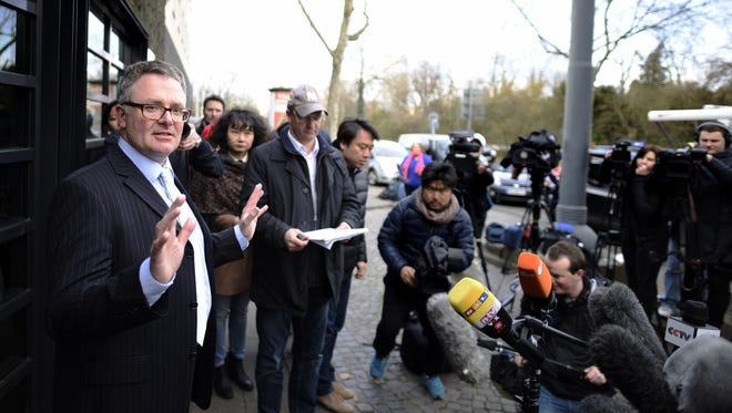 Christoph Kumpa, spokesman for Duesseldorf's public prosecutor, speaks to the media on March 30, 2015.