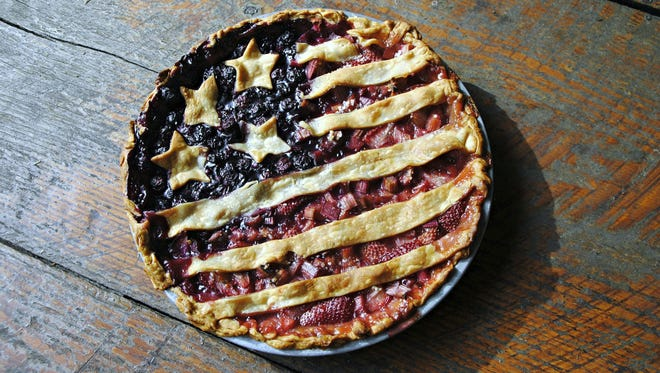 This flag pie is made with blueberries and rhubarb-strawberry.
