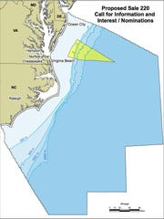 A Bureau of Ocean Energy Management map shows where oil and gas drilling was considered in 2010.
