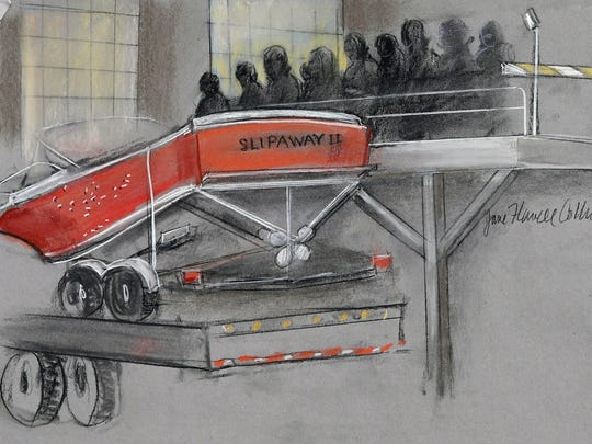 In this courtroom sketch, the boat in which Dzhokhar Tsarnaev was captured is depicted on a trailer for observation during Tsarnaev's federal death penalty trial Monday, March 16, 2015, in Boston. Tsarnaev is charged with conspiring with his brother to place two bombs near the Boston Marathon finish line in April 2013, killing three and injuring more than 260 people. (AP Photo/Jane Flavell Collins) ORG XMIT: BX103
