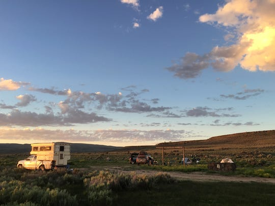 The campground at Catnip Reservoir in the Sheldon National Wildlife Refuge at sunrise last week.