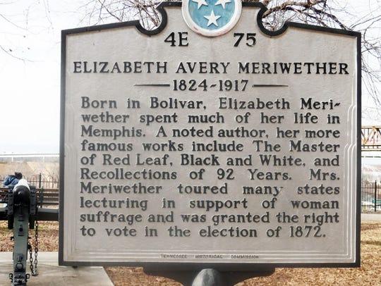Elizabeth Avery Meriwether marker in Memphis.