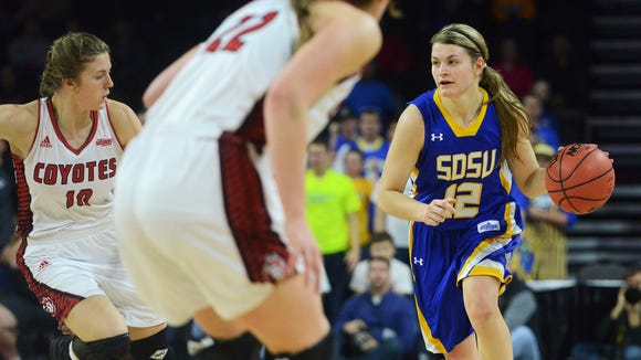 SDSU's Macy Miller (12) dribbles down the court alongside USD's Allison Arens (10) in the Summit League women's basketball championship  at the Denny Sanford Premier Center in Sioux Falls, S.D. March 8, 2016. SDSU beat USD 61-55.