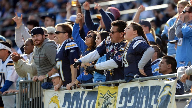 San Diego Chargers fans in the first quarter of the game at against the New York Giants at Qualcomm Stadium.
