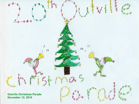 The Outville Christmas parade is filled with traditions. One tradition is an art contest.  Fifth graders from Southwest Licking Local Schools participate in the annual contest.  This year's winner was Jessa Phillips, and Phillips' entry is pictured here.  Second place went to Juan Moore, while third place went to Sadie Holman.  Phillips received a $50 donation from Harrison Township Trustee Mark Van Buren, and Phillips' design was featured on the parade T-shirts and dash plaques. The second- and third-place winners received gift cards, while all three winners were invited to ride in the parade.