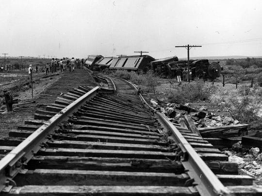 06/03/1948 Two men were injured fatally when this northbound Santa Fe passenger train was derailed in the Lake Avalon District near Carlsbad, N.M. K.D. Shumate, Clovis, engineman, was ,killed instantly and R.K. Williams, fireman, died in a Clovis hospital Tuesday.