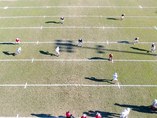 Ray High School Football team drone footage from a