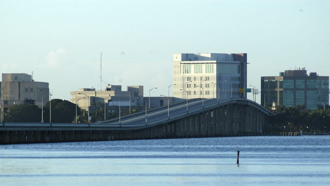 The Caloosahatchee Bridge as seen from North Shore Park in North Fort Myers.