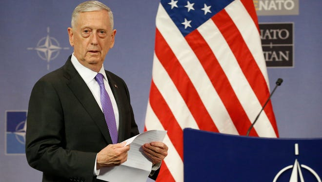 Secretary of Defense Jim Mattis speaks at a press conference at the end of the NATO defense ministers meeting at NATO headquarters in Brussels, Belgium,