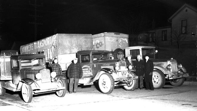 Lines of trucks await the signal to proceed on their way to taverns in Sheboygan, Milwaukee and Chicago on the eve of legalizing 3.2 percent beer on April 6, 1933.