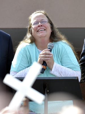 Rowan County Clerk Kim Davis pauses as she speaks after being released from the Carter County Detention Center, Tuesday, Sept. 8, 2015, in Grayson, Ky. Davis, who was jailed for refusing to issue marriage licenses to gay couples, was released Sept. 8, 2015, after five days behind bars.