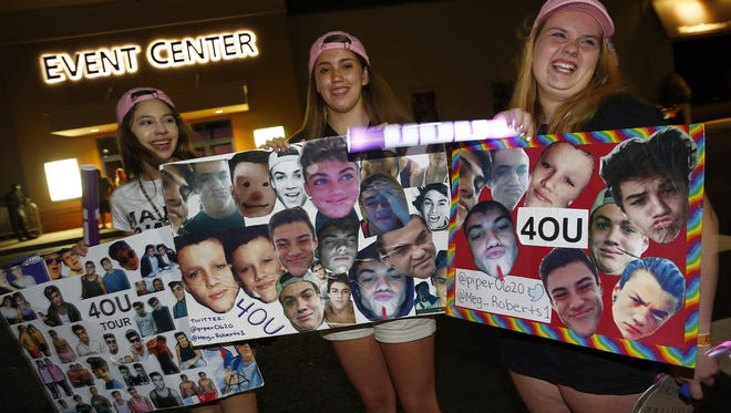 Grayson & Ethan Dolan fans (l-r) Denise Blake, Piper Scheiffele, and Meghan Roberts, all 14 from Granby, CT, are shown outside the iPlay America in Freehold Township Saturday night, June 4, 2016, where a mass casualty incident was declared earlier during the twin's performance.