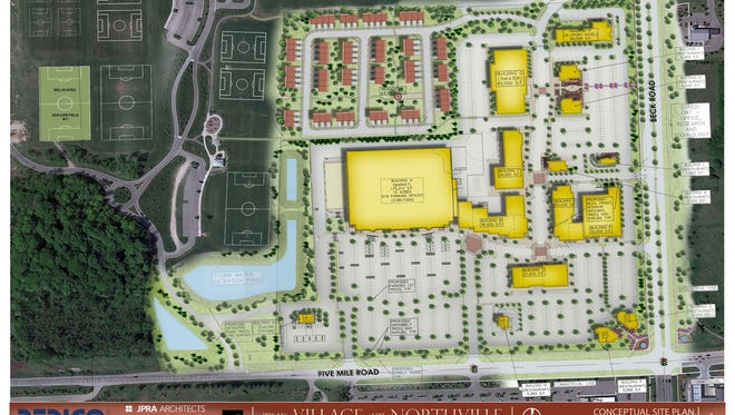 A rendering of Village at Northville, featuring a new Meijer.