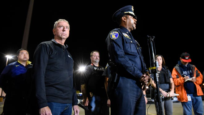 St. Cloud police chief Blair Anderson and mayor Dave Kleis hold a press conference early Sunday morning at the Crossroads Center in St. Cloud.