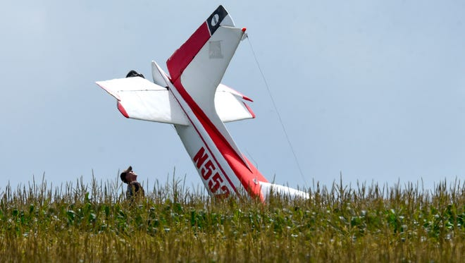 A small plane made an emergency landing Thursday, Aug. 2, in a corn field near 17838 County Road 2 North of Watkins.