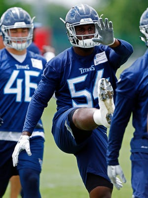 Titans rookie linebacker Rashaan Evans is seen during practice May 30. He's been dealing with an undisclosed injury in training camp.