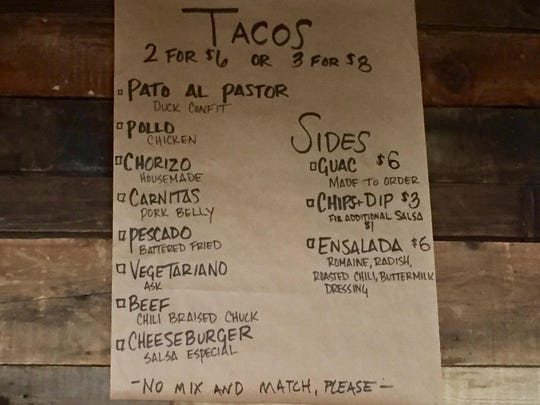 At the new Midtown Tacos, there's a minimum order of two tacos for any one style.